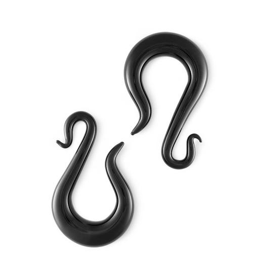 Pair Black Glass Serpentine Drop