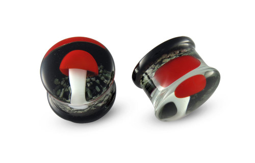 Pair Red Mushroom Glow In The Dark Glass Plugs