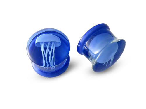 Pair Blue Jelly Fish Glass Plugs