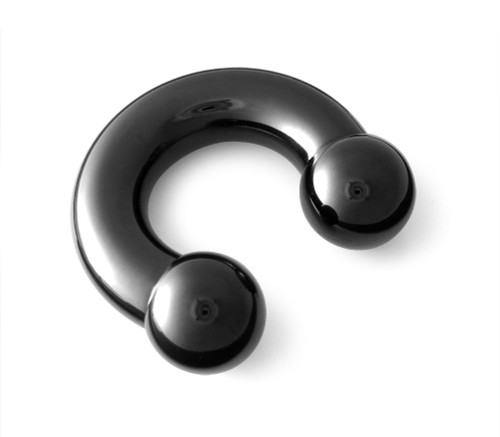 0g 316L Surgical Steel Black PVD Coated Circular Horseshoe Barbell