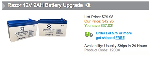 Razor 12V 9AH Battery Upgrade