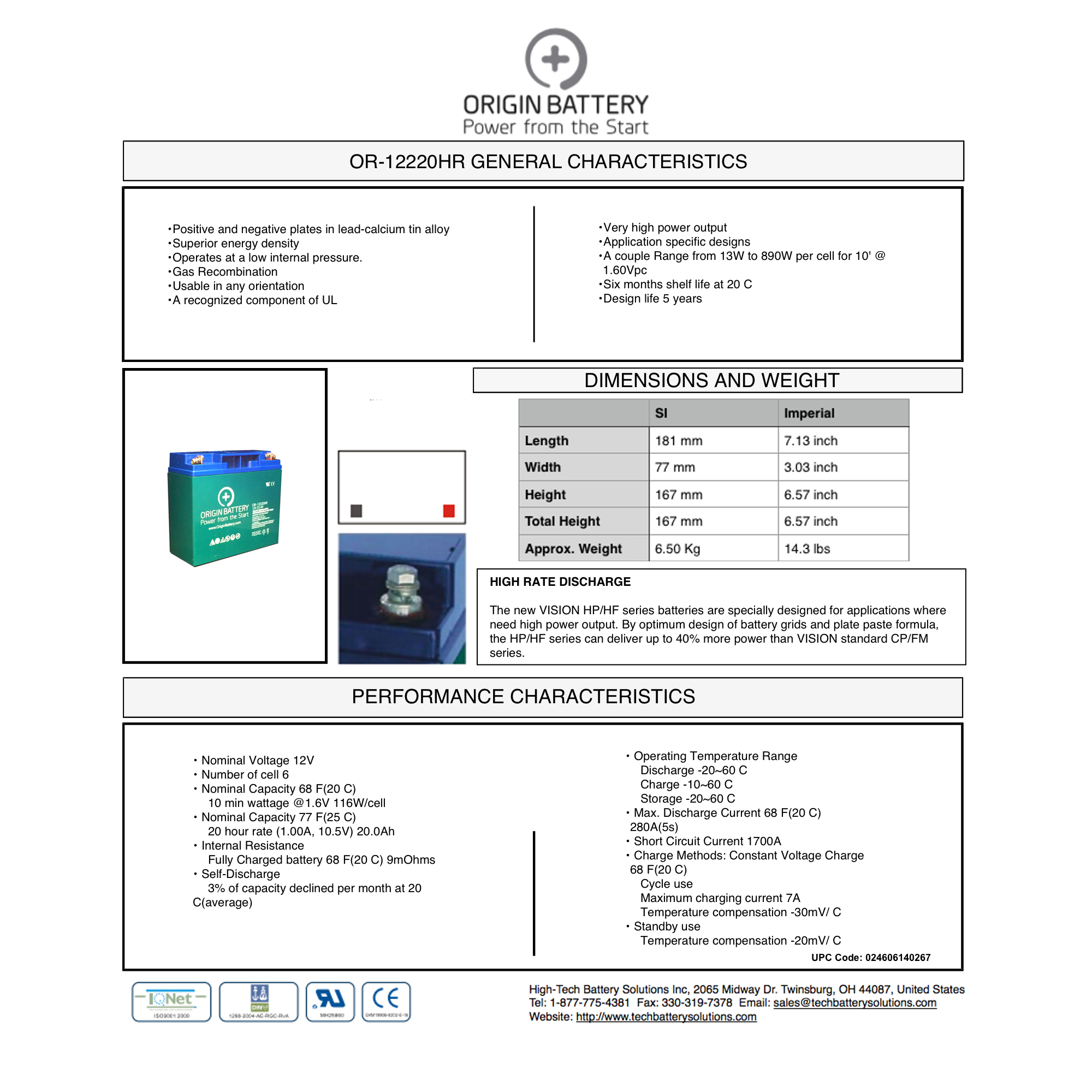 OR-12220HR Specs