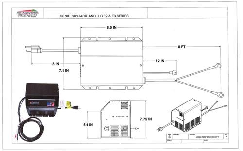 Genie Scissor Lift Battery Charger: GS-1530, GS-1930, GS-2646 (2011 & Newer)High-Tech Battery Solutions Inc