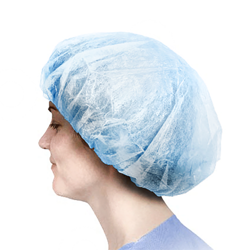 "Bouffant Head Caps (24"", White / Blue, 100/Bag)"