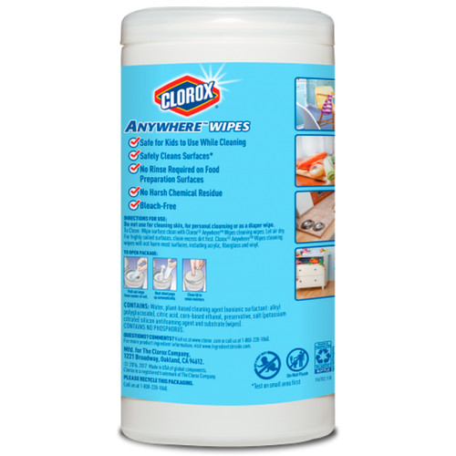Clorox Anywhere Wet (75 Wipes/Can) Kids, Pet, Food Safe, Bleach-Free And Fragrance-Free