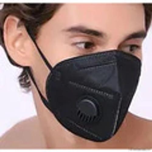 Black KN95 Respiratory Masks 10/Box *** WITH VALVE ***