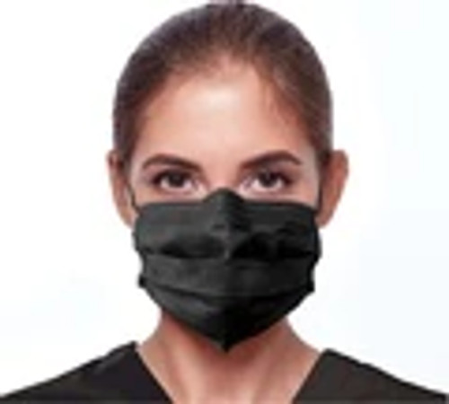 Premium Medical Grade ASTM 3 Black Ear Loop Masks 50/PK By Unipack Medical