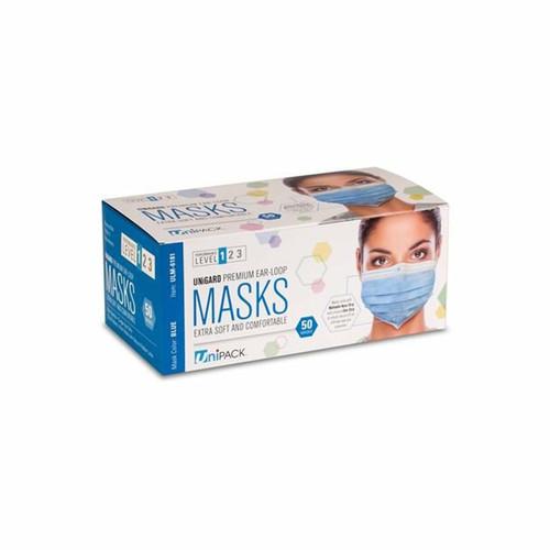 Premium Medical Grade ASTM 1 Blue Ear Loop Masks 50/PK By Unipack/Dukal