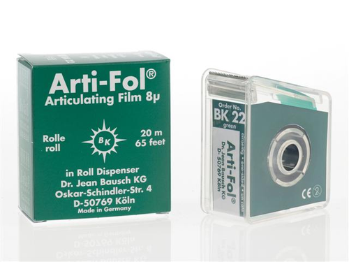 Bausch Arti-Fol, Ultra Thin 8 Microns, 22mm x 20 m Roll, Green