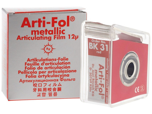 Bausch Arti-Fol Metallic - Red One-Sided Shimstock-Film, 12 microns, 22 mm x 20 m Roll