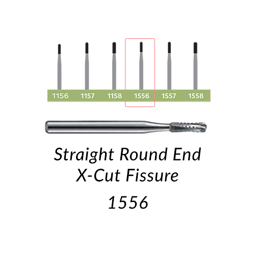 Carbide Burs. FG-1556 Straight Round End X-Cut Fissure. Clinic Pack of 100/bag.