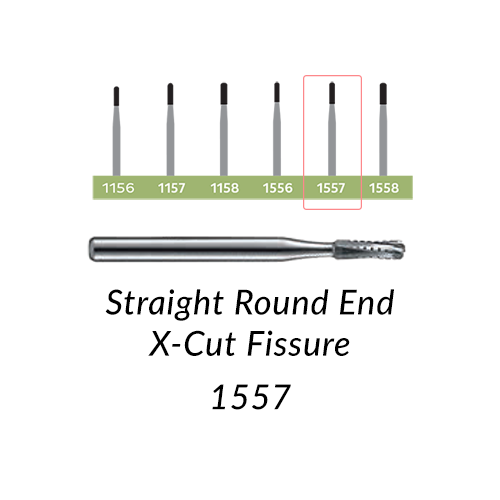 Carbide Burs. FG-1557 Straight Round End X-Cut Fissure. Clinic Pack of 100/bag.