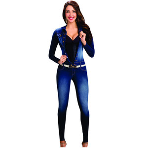 Lowla Long Sleeve Denim Jumpsuit for Women with Compression Enterizos Colombianos Largos con Faja