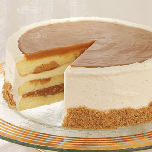 Salted Caramel Crunch Cake Light, buttery vanilla-flecked cake has waves of caramel cake and layered with salted caramel crunch and a creamy custard layer.