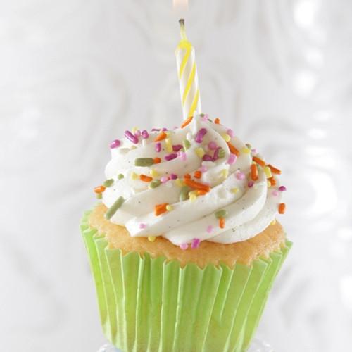 Vanilla cupcake with sprinkles