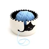 Cat Yarn Bowl, Black Cat Peeping