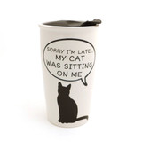 Sorry I Was Late...My Cat Was Sitting on Me Travel Eco Mug with Lid