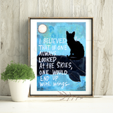 Black Cat with Wings Print