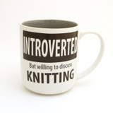 Introverted Knitting Mug, Gift for Introvert Who Knits