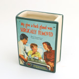 Mature Get Well Soon Book Shaped Pencil Holder, Surgically Removed