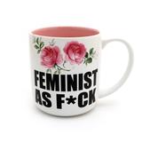 Feminist Mug, Feminist AF Mug with Delicate Pink Flowers