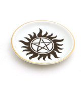 Pentagram ring dish, Wicca ring dish with 22K gold
