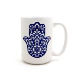 Hamsa Mug,  Jewish Mug, Judaica by Lorrie Veasey