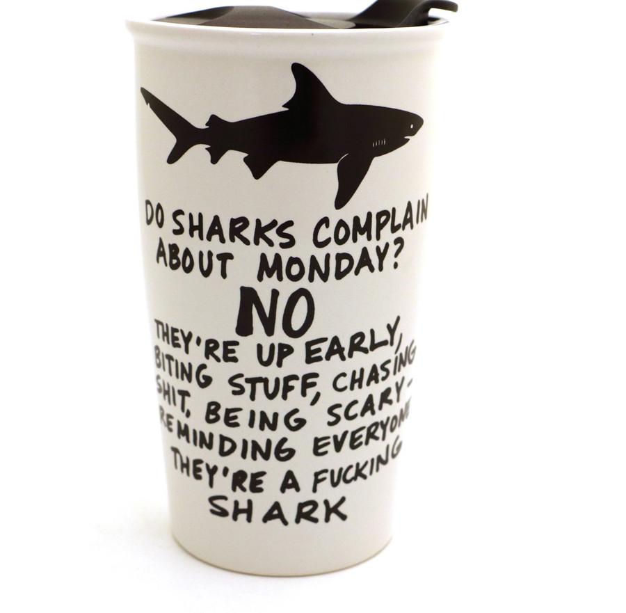 Mature Shark Travel Mug