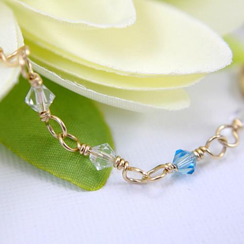 Something Blue anklet wedding bridal gold filled