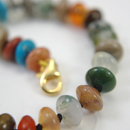 Mixed gemstone bracelet rondelle beads 8 inch