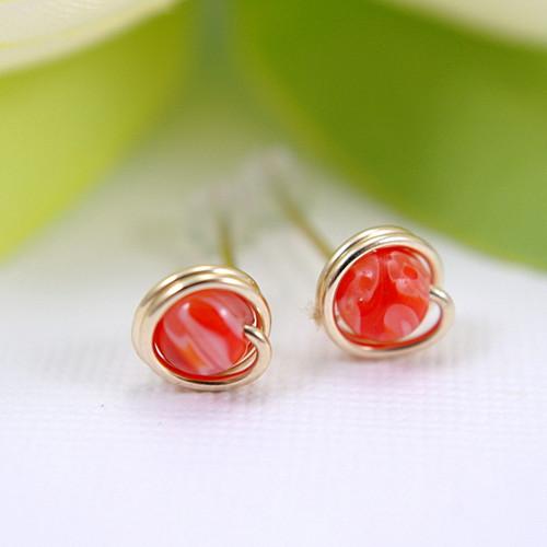 Small orange millefiori glass post earrings