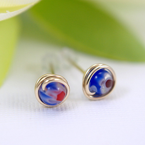 Small blue & red millefiori glass post earrings