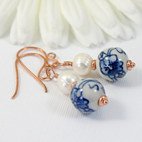 Ginger jar earrings blue china pearl copper