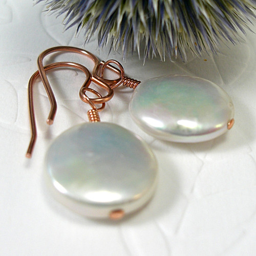 White coin pearl earrings copper