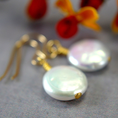 White coin pearl earrings gold filled