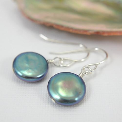 Black coin pearl earrings sterling silver