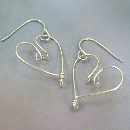 Heart hoop earrings sterling silver