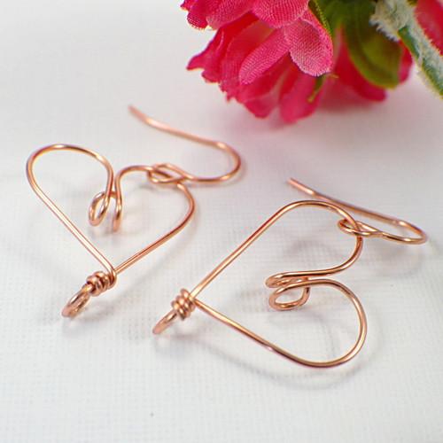 Heart hoop earrings copper