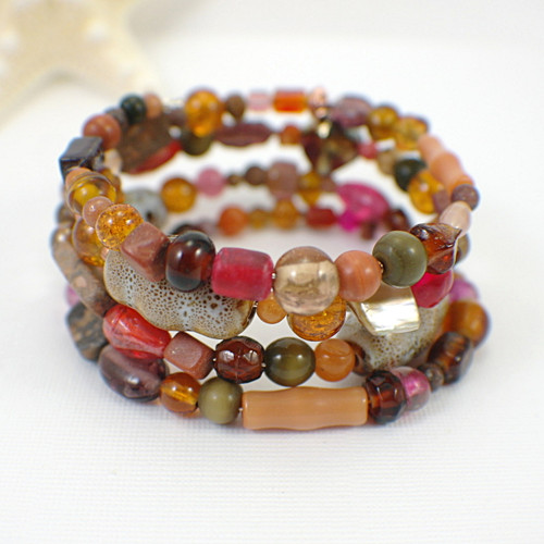 Memory wire autumn harvest wide bracelet