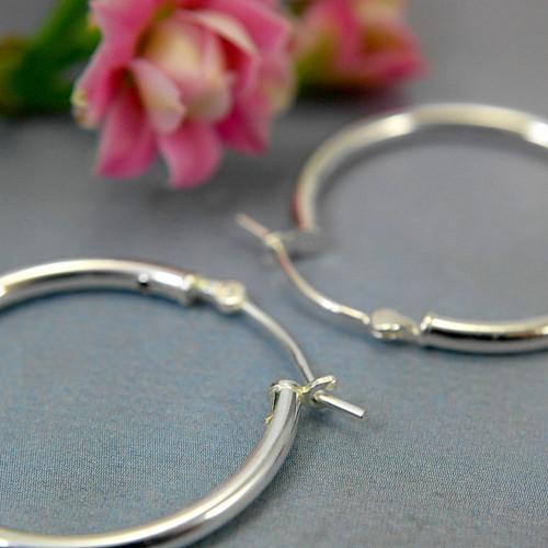 Sterling silver hollow hoop earrings 25mm
