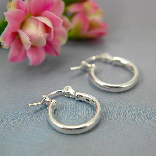 Sterling silver hollow hoop earrings 12mm