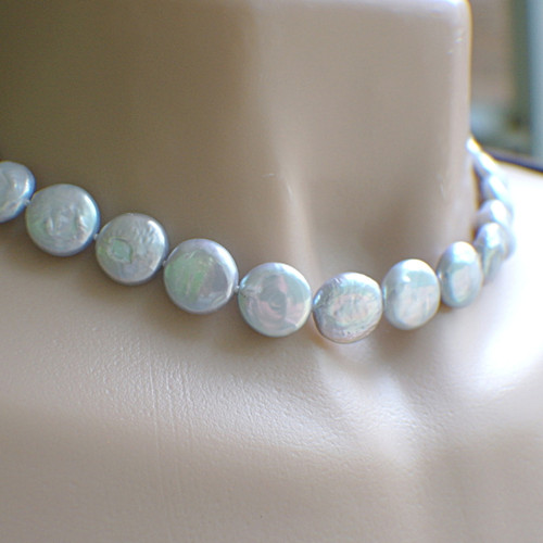 Dove grey coin pearl necklace hand knotted