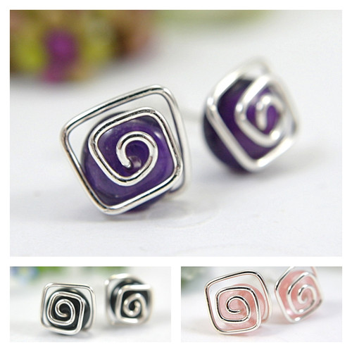 Spiral post gemstone earrings sterling silver