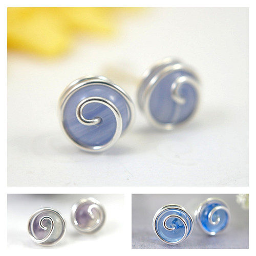 Rosebud post gemstone earrings sterling silver