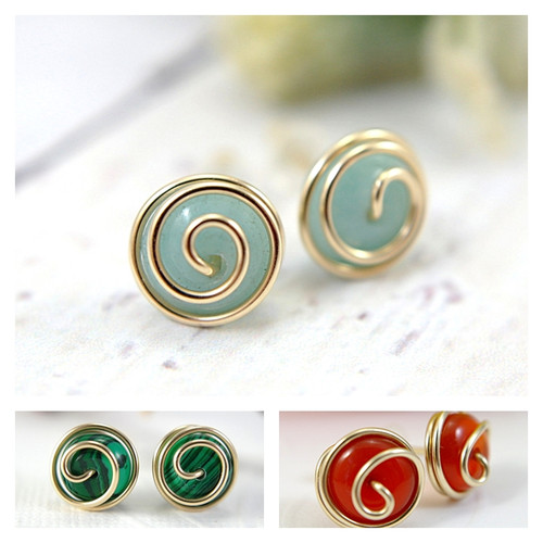 Rosebud post gemstone earrings 14k gold filled