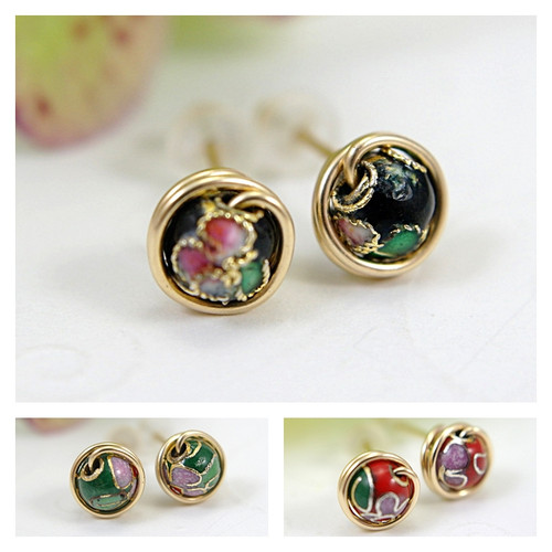 Cloisonne post earrings 14k gold filled
