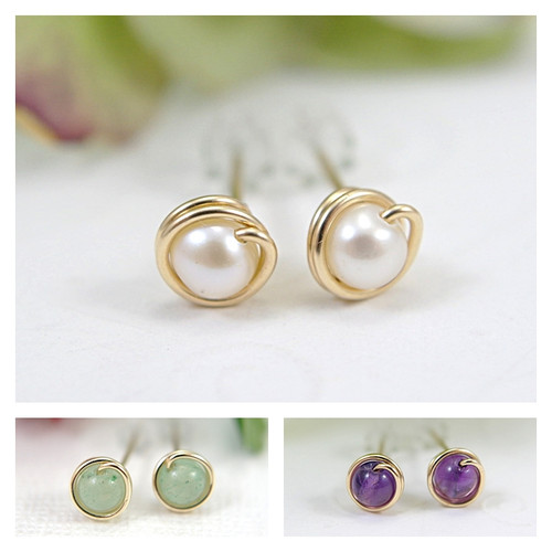 Tiny gemstone post earrings 14k gold filled