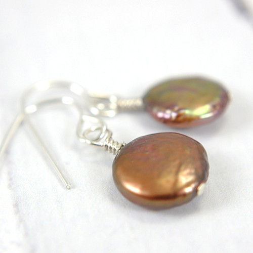 Copper coin pearl earrings sterling silver