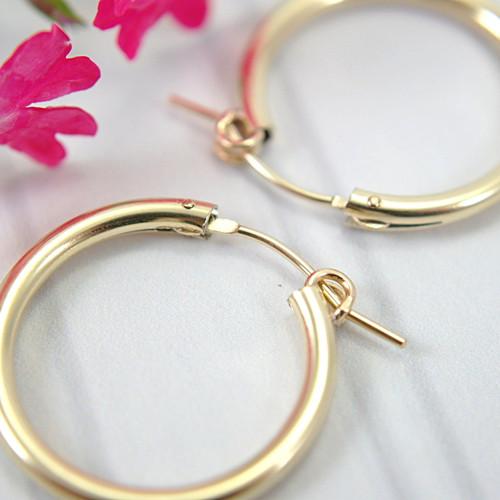 14k gold filled hollow hoop earrings 22mm medium