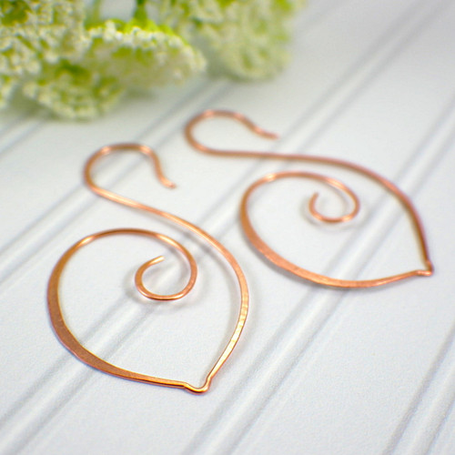 Swan hoop earrings copper large